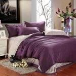 Elegant Reversable Purple White Bed Comforter Set For Modern Bedroom Grey Bedroom Mat White Finished Wood Bedside Table With Drawers With Smaller Table Lamp