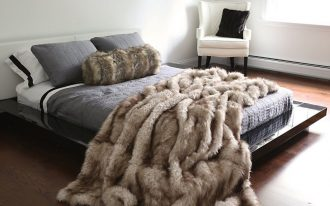 Faux Fur Blanket Queen On Grey Bed