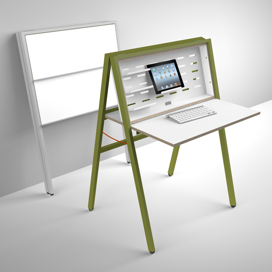 Flatmate computer desk made of wood with green finishing
