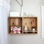 Floating bathroom shelves idea  made of wine crates