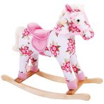 Floral Wooden Rocking Horses For Toddlers With Pink And White Color
