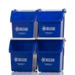 Four Blue Ikea Recycle Bins