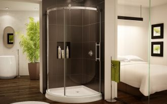 Frameless Sliding Curved Glass Shower Of Corner Shower Units