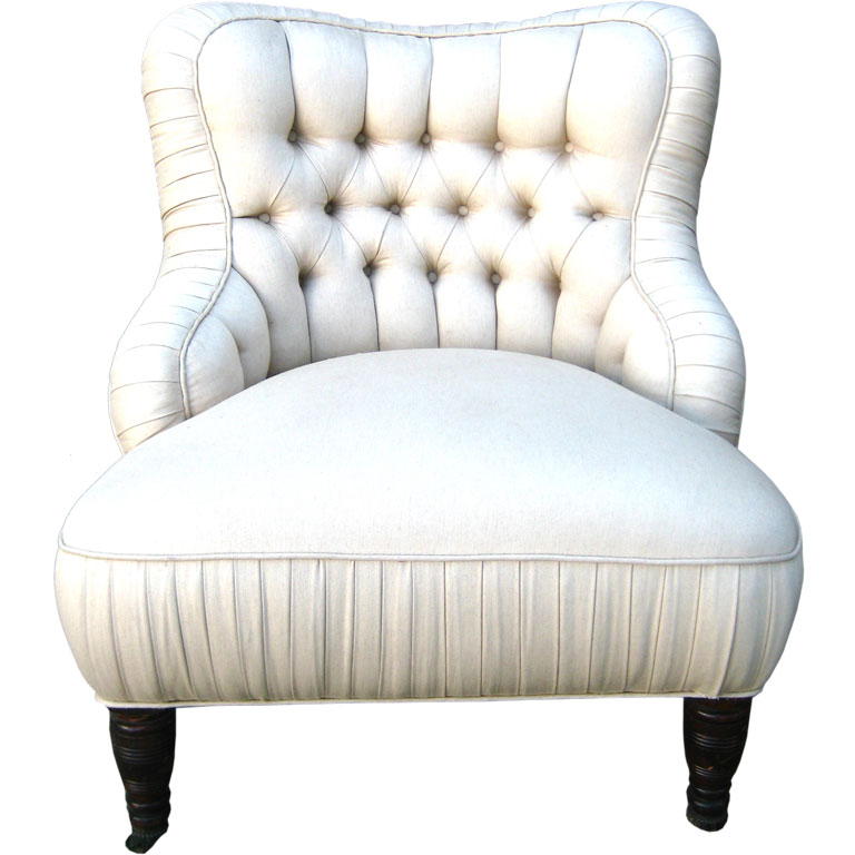 French White Slipper Chair With Short Legs