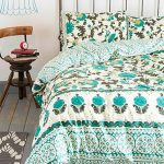 Fresh Green Leaves Urban Outfitter Bedding Design With Unique Lamp And Wooden Small Chair