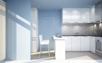 Fresh blue wall for kitchen pure white painted cabinets white breakfast table with white bar stools