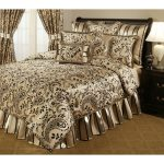 Full size gold bed comforter product with black floral motif