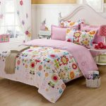 Full sized toddler bed frame with white headboard reversable bed comforter set with cute flower pattern