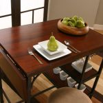 Furnished Wooden Rectangular Drop Leaf Table With Chair Storage