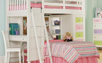 Girls loft bed idea with side desk drawer system ladder and additional trundle