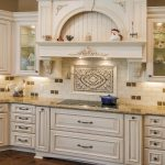 Glamorous White Wood Vent Hood With Cool Light Decoration