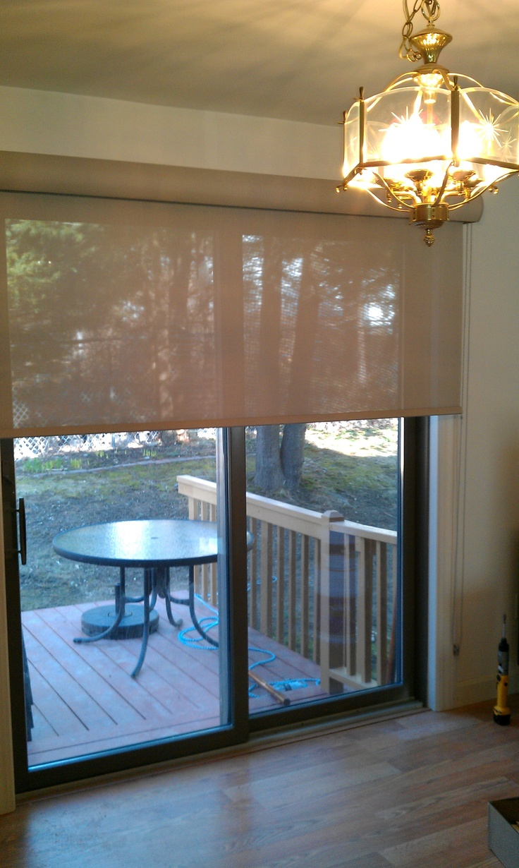 Exceptionnel French White Glass Door Coverings. After: Sleek Solar Shade