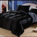 Glossy Black Comforter Bed Set Idea For Modern Bed Frame With White Headboard