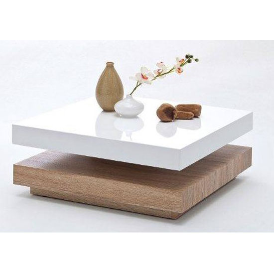 Beau Glossy White Coffee Table With Unfinished Wood Base In Square Shape