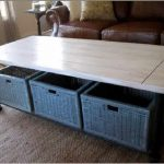 Glossy wood top coffee table in rectangle shape with baskets underneath