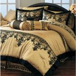 Gold and black bed comforter set idea