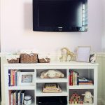 Good White Target Book Cases Below Flat TV