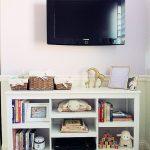 Good White Target Book Cases Below Flat TV