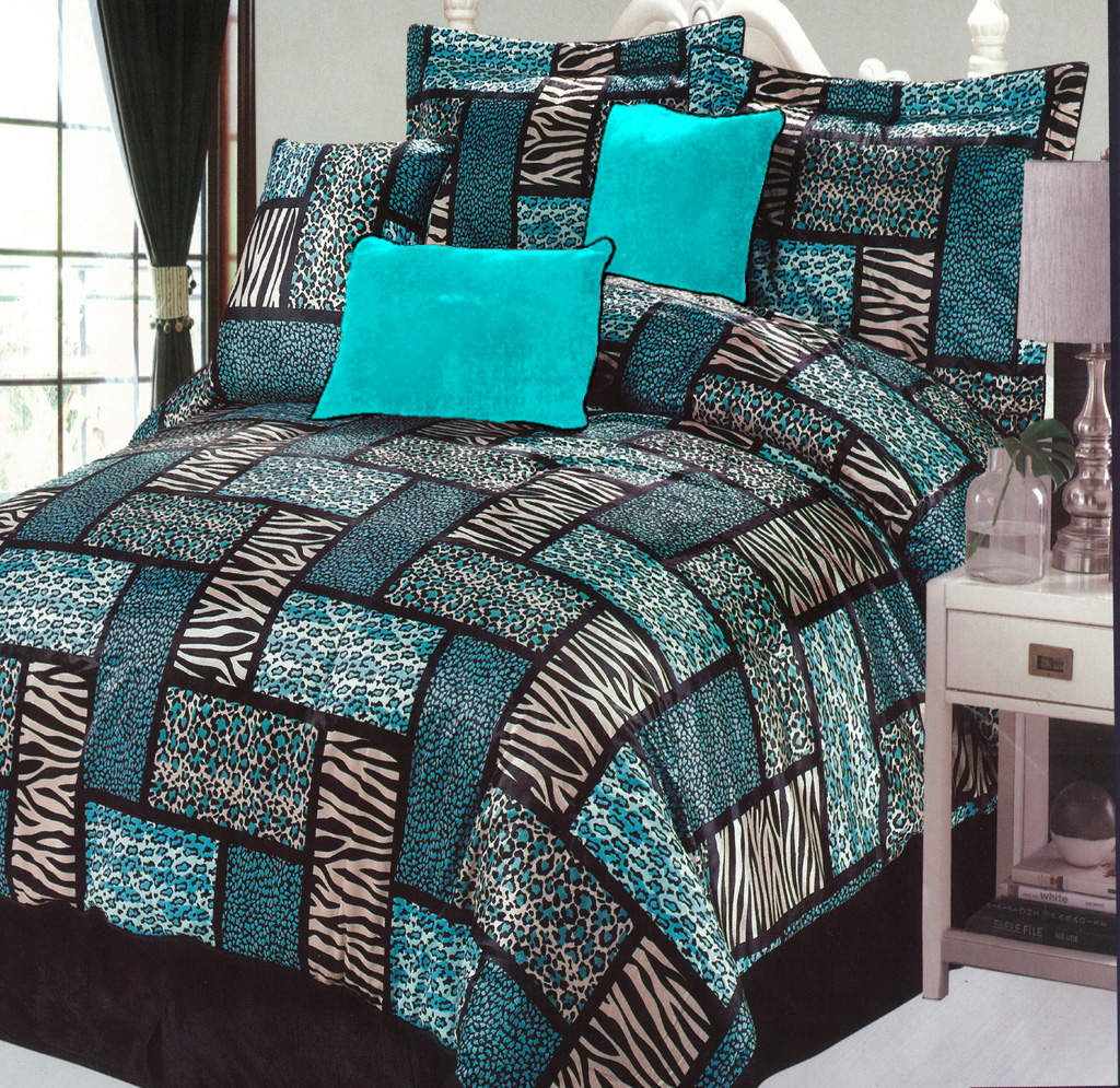 Bedding sets turquoise - Gorgeous Comforter Set With Mix Turquoise Black And Zebra Print Pattern