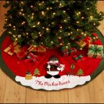 Green Red Personalized Tree Skirts For Small Christmas Tree