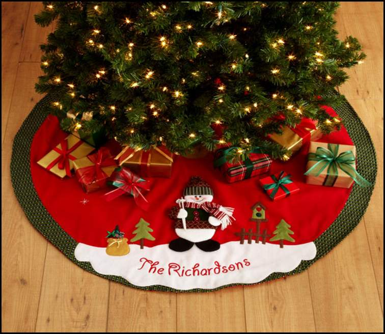 green red personalized tree skirts for small christmas tree - Small Christmas Tree Skirts
