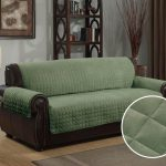 Green Slipcovers For Leather Couches With Round Side Table And Rug