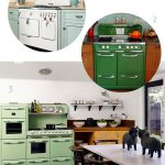 Green Vintage Antique Looking Stoves With Wooden Table