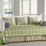 Green White Stripped Of Contemporary Daybed Covers With Unique Green Side Table