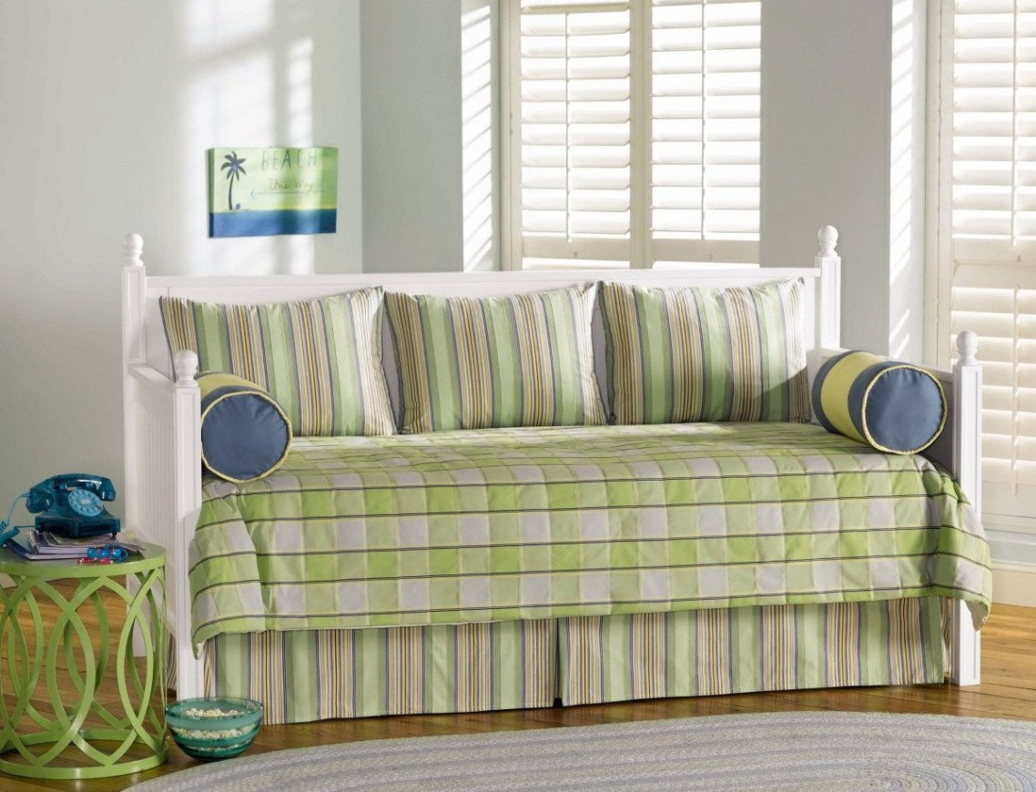 Modern daybed bedding - Green White Stripped Of Contemporary Daybed Covers With Unique Green Side Table