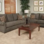 Grey Couch And Loveseat Sets With Decorative Pattern Pillow And Wooden Rectangular Coffee Table Plus Large Cream Rug