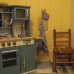Grey Design Of Wood Play Kitchen Sets With Double Classic Chairs