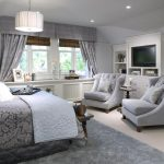 Grey Double Chairs For Bedroom Sitting Area With Grey Bedding Carpet And Curtains