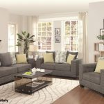 Grey Fabric Couch And Loveseat Sets With Yellow Pillows Table With Storage Place And White Rug