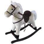 Grey Rocking Horses For Toddlers With Dark Wooden Base