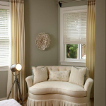 Grey Wall With Chairs For Bedroom Sitting Area At The Corner Plus Long Curtains And White Shades For Windows