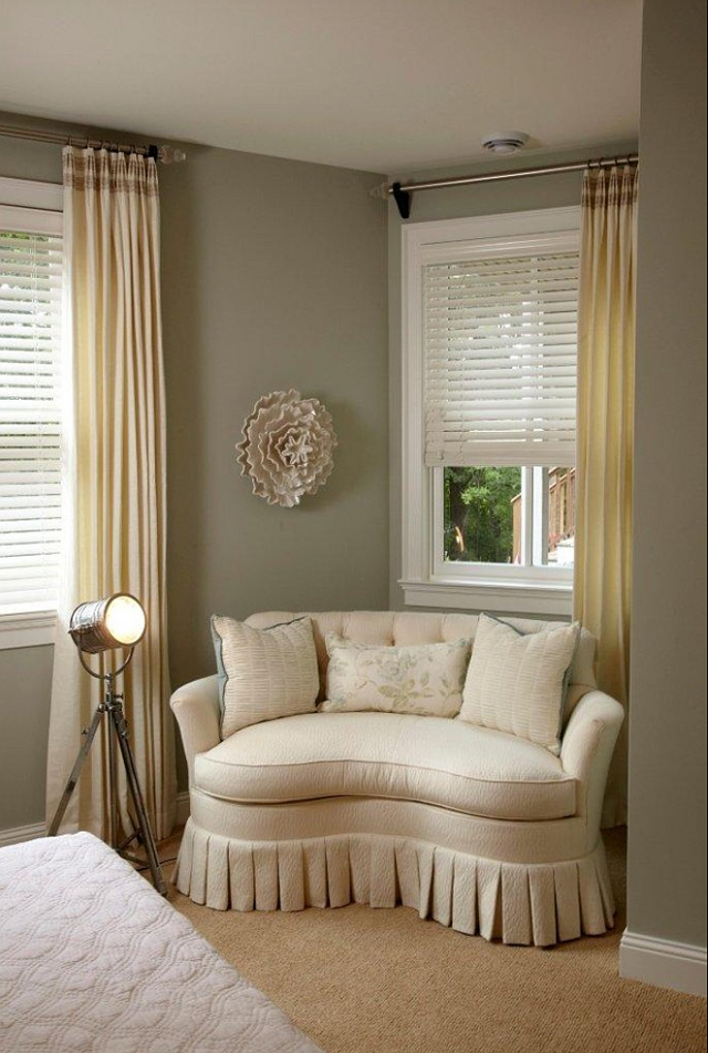 Grey Wall With Chairs For Bedroom Sitting Area At The Corner Plus Long Curtains And White
