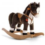 Grey White Rocking Horses For Toddlers With Wood Base