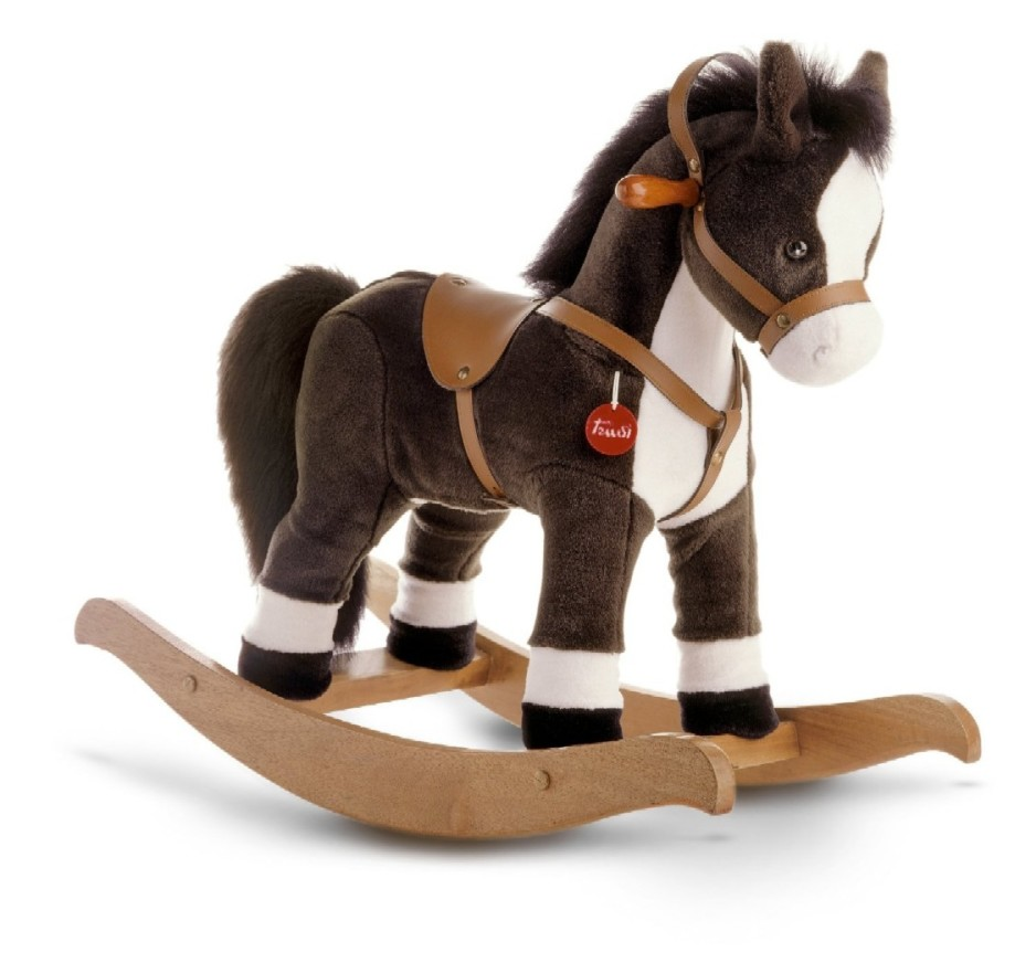 best rocking horses for toddlers  homesfeed - grey white rocking horses for toddlers with wood base