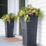 Grey painted wood planter box for entrance area