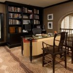 Home Office Ideas With Bookshelf Glass Top Table And Wooden Chair