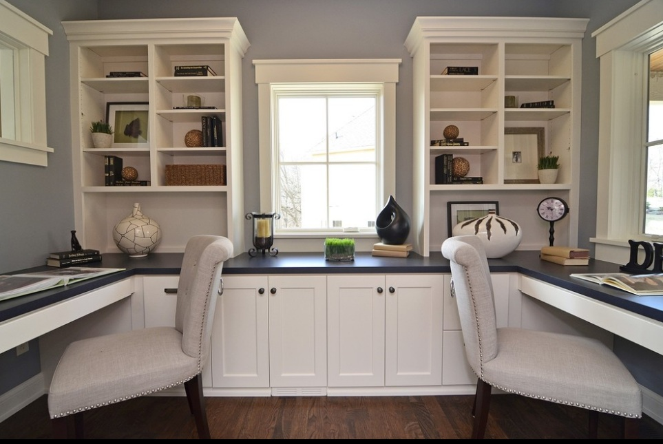 Home Office Ideas With White Shelves Cabinet And Double Chairs
