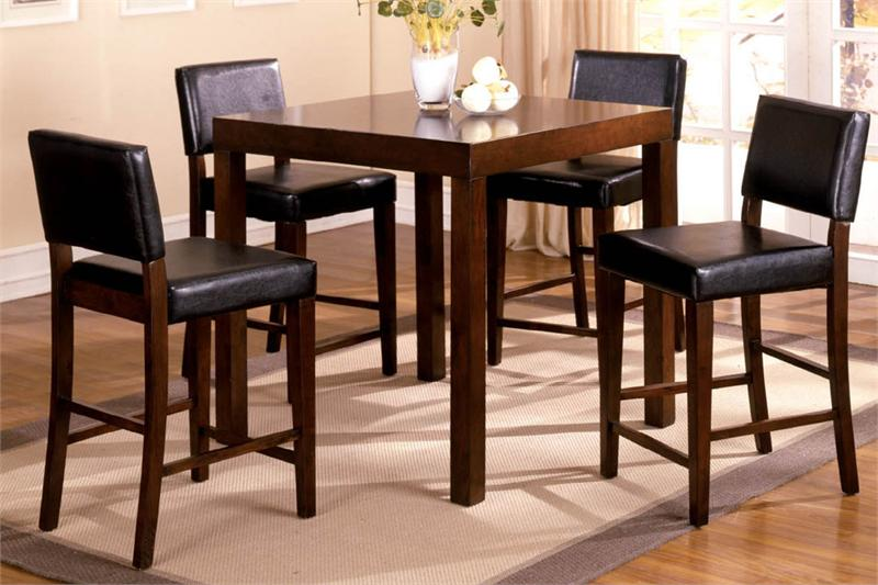 Exceptional IKEA Counter Height Table Idea Made Of Wooden With Several Wooden Dining  Chairs Which Have Black