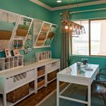 Impressive Wall Organizers For Home Office With Cabinet Shelves On Green Wall And White Desk Plus Double Chair