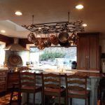 Iron Pot Rack With Lights With Three Stools And Kitchen Island