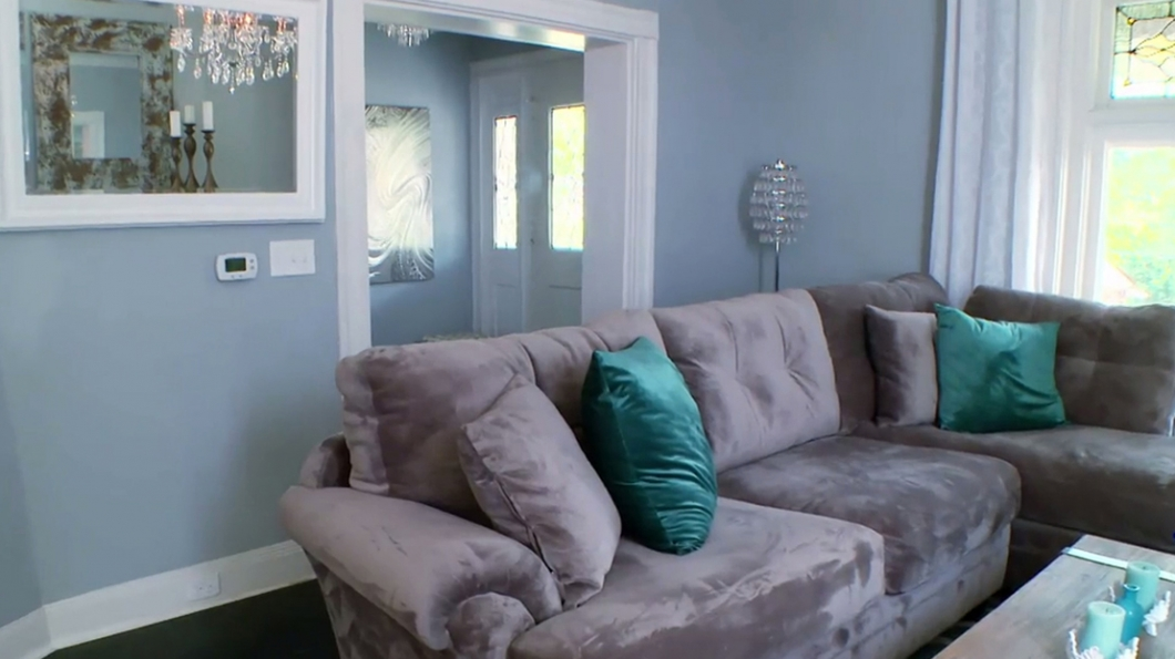 deep couches living room. L Shaped Oversized Couches Living Room With Turquoise Pillows And Grey  Wall Cool HomesFeed