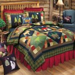 Lake House bed comforter set in Christmas theme blue navy corner chair