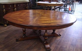 Large 8 Person Round Dining Table With RUstic Wooden Style