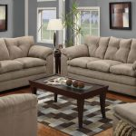 Light Brown Couch And Loveseat Sets With Wooden Rectangular Table And Square Pattern Rug