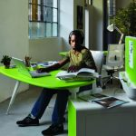 Light Green Office Ideas For Desk And Cabinet