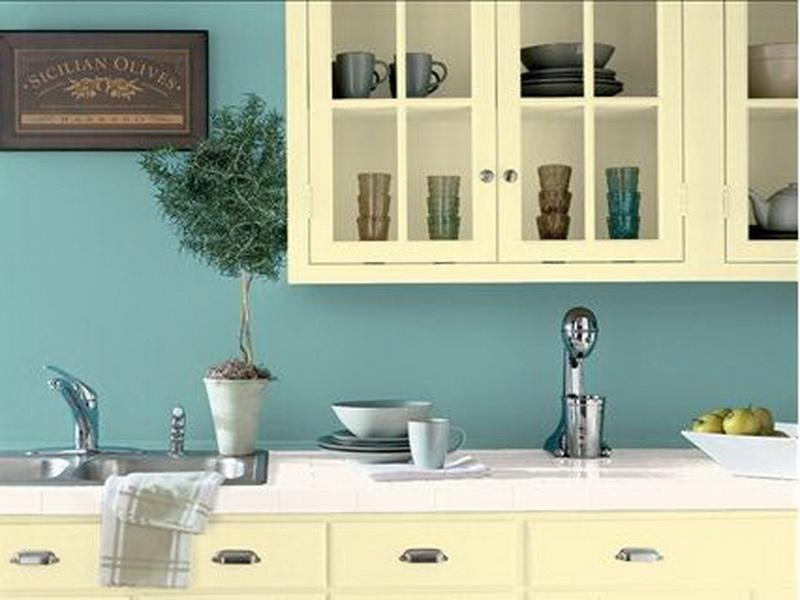 Light Blue Paint Idea For Kitchen Wall White Cabinet System